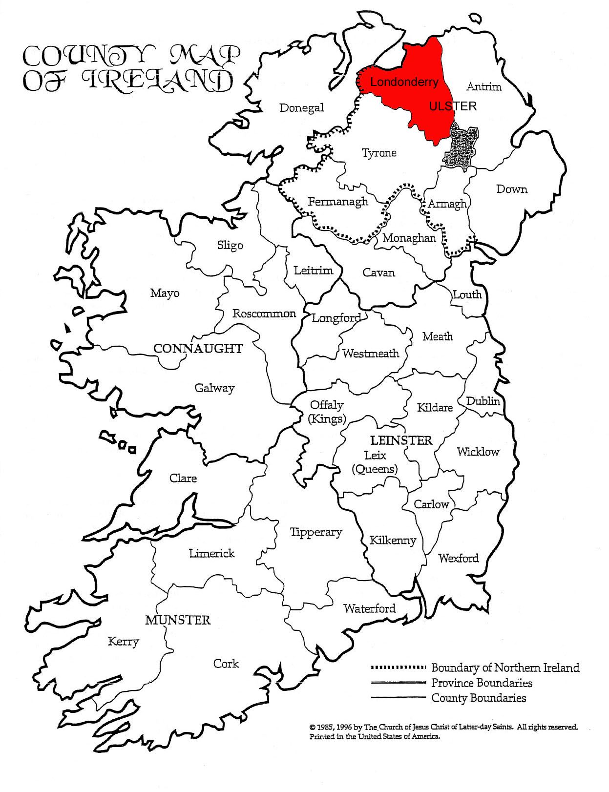 Background on Londonderry and Ulster County Londonderry or County