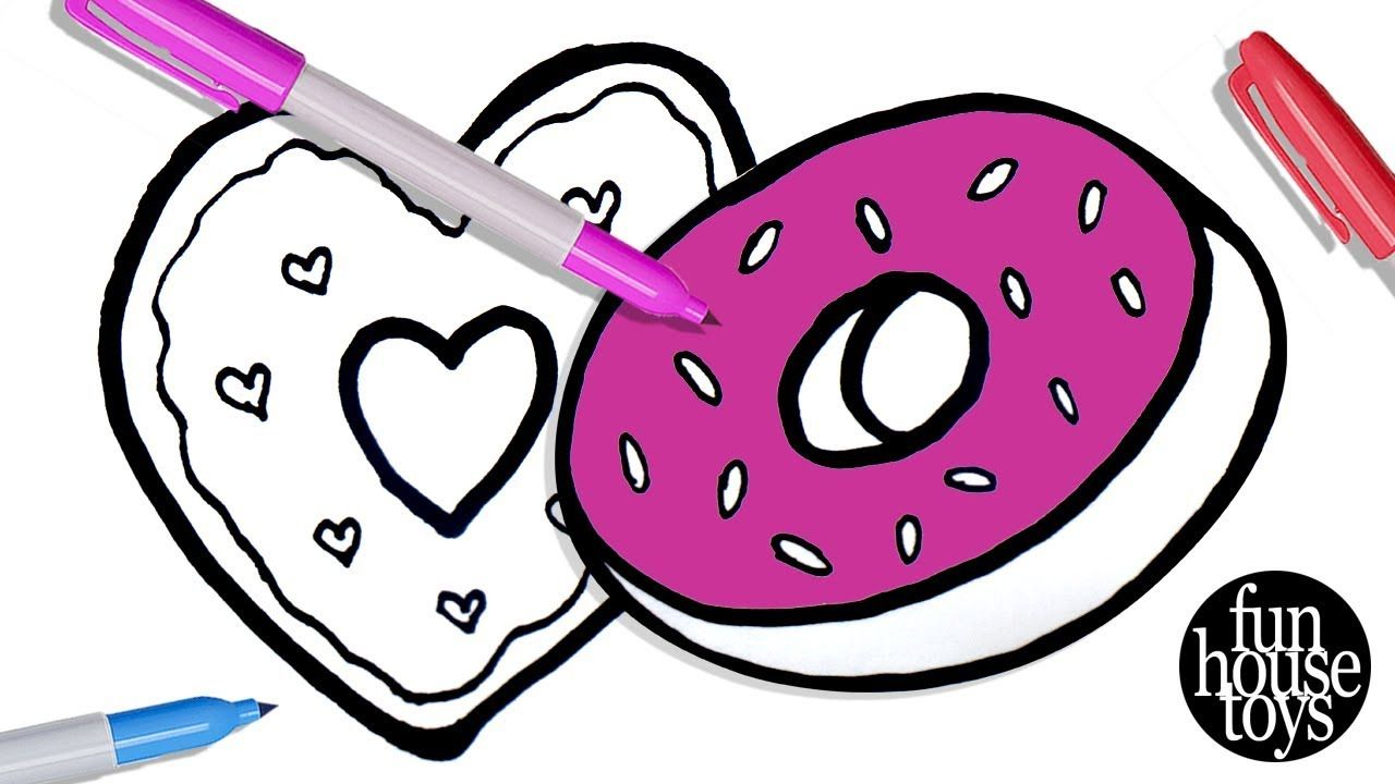 How to Draw Heart Shape Donut | Coloring Pages for Kids with Colored ...