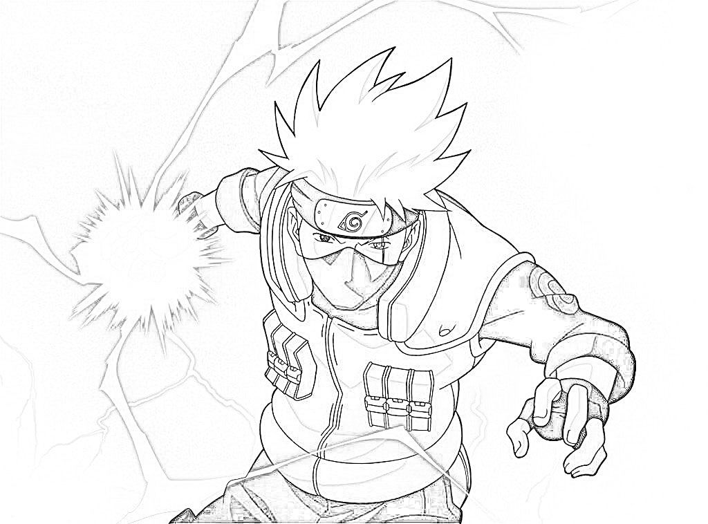 Naruto Kakashi Coloring Page Google Search Drawings Pinterest
