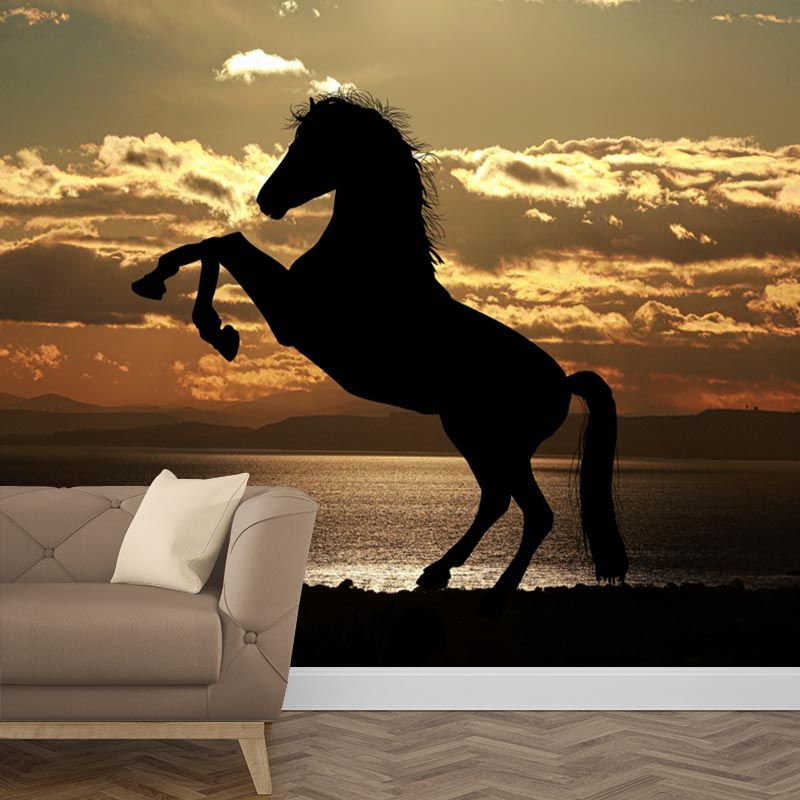 Paarden Behang Posterbehang.Fotobehang Paard In Avondzon In 2019 Paard Silhouet