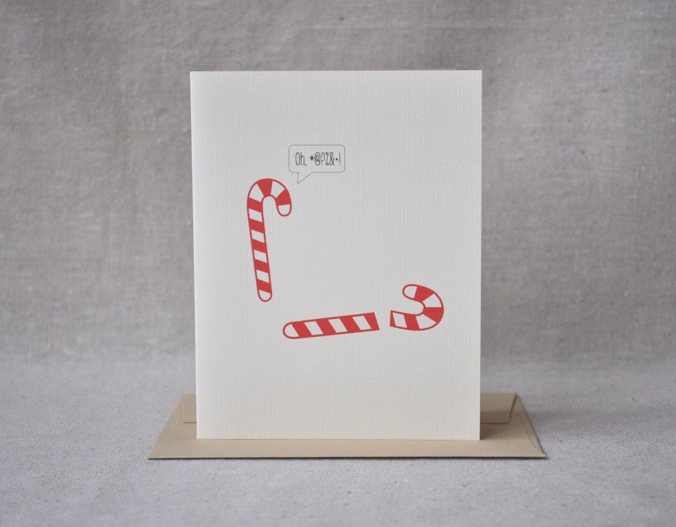 Christmas Card, Candy Cane, Broken Candy Cane, Humorous Funny - blank xmas cards