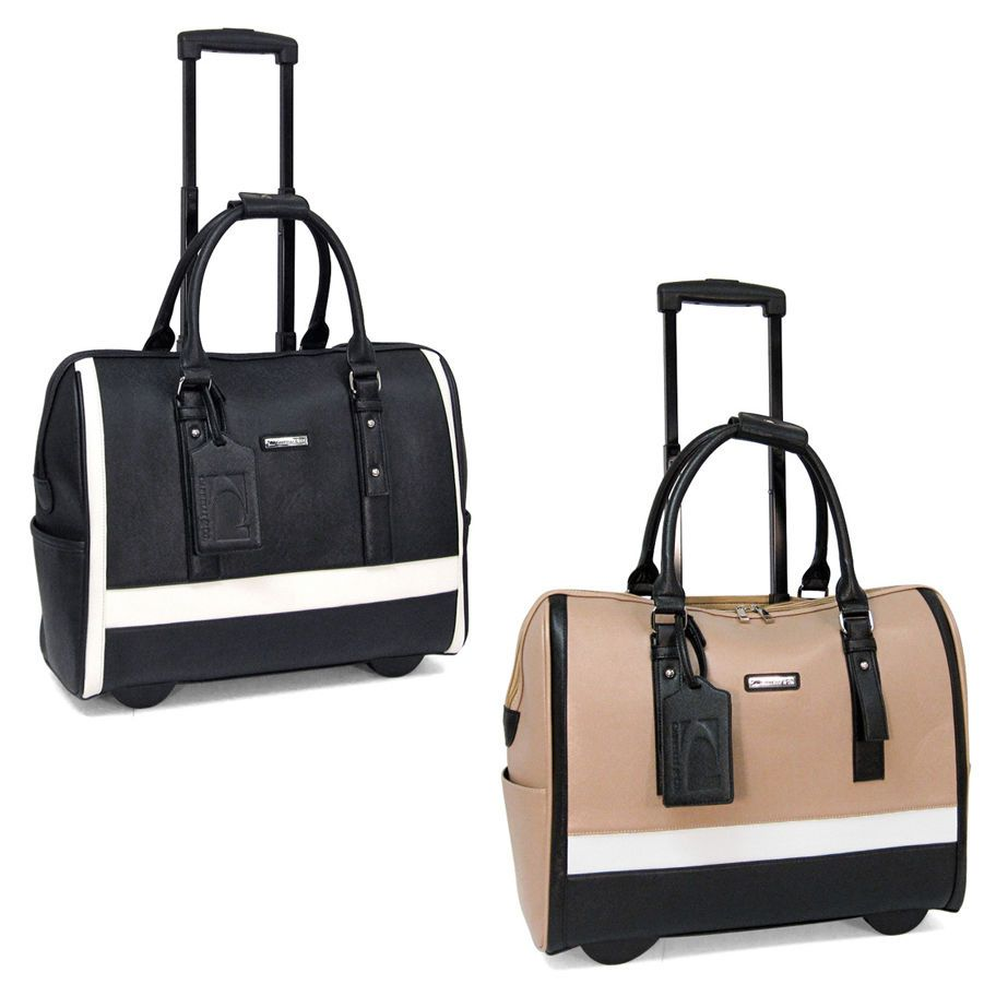 This classic rolling carry on / laptop bag for women features ...