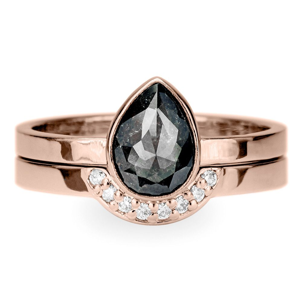 Black diamond engagement ring k rose gold point no point studio