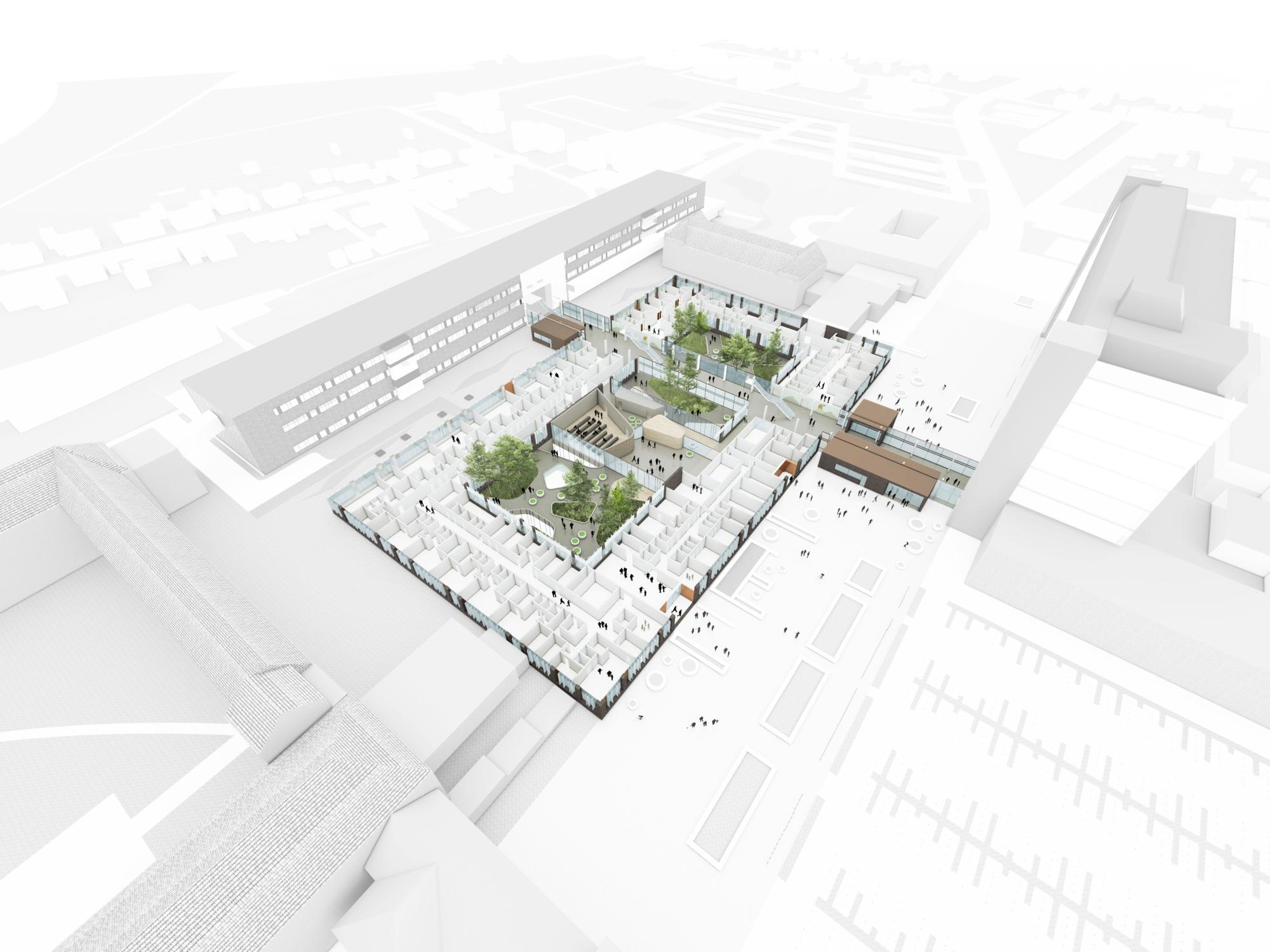 C.F. Møller Wins Vendsyssel Hospital Competition,Ground Floor Cutaway. Image © C.F. Møller