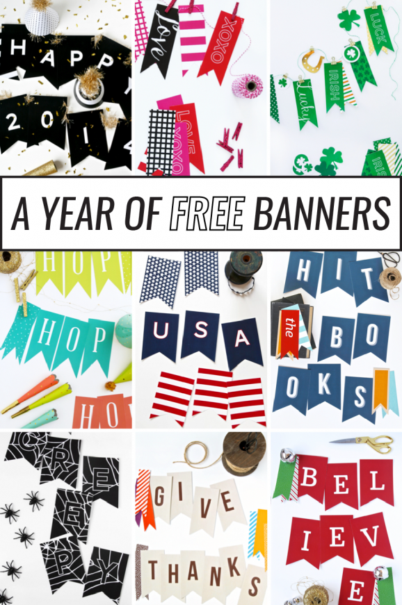 a year of printable banners banners free printable banner rh pinterest com  free printable banner letters a-z
