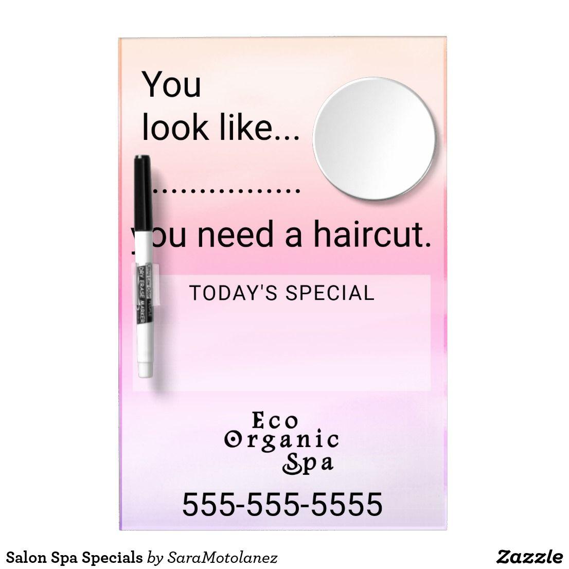 Salon Spa Specials Dry Erase Board With Mirror Spa