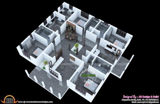 Modern 4 Bedroom House Floor Plans 3d Wonderful 3d Floor Plan And