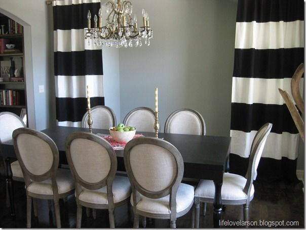 Lifelovelarson DIY No Sew Black White Striped Curtains