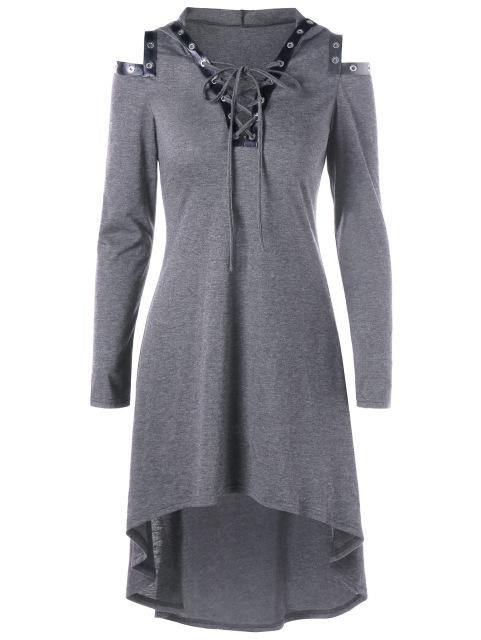 Women's Lace Up Hooded Gothic Dress Light Gray Long Sleeve Mid-Calf PU Leather Trim M-2XL