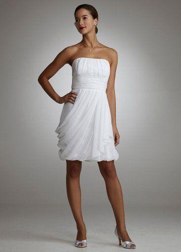 Rehearsal Dress Amazon Davids Bridal Wedding Strapless Draped Chiffon Bubble Hem