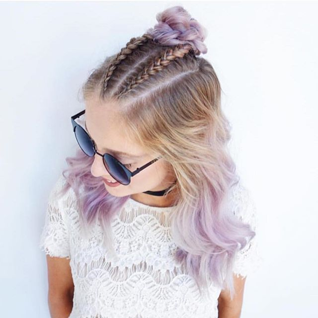 How Adorable Top Braids With Lavender Hair Painting And Bun By