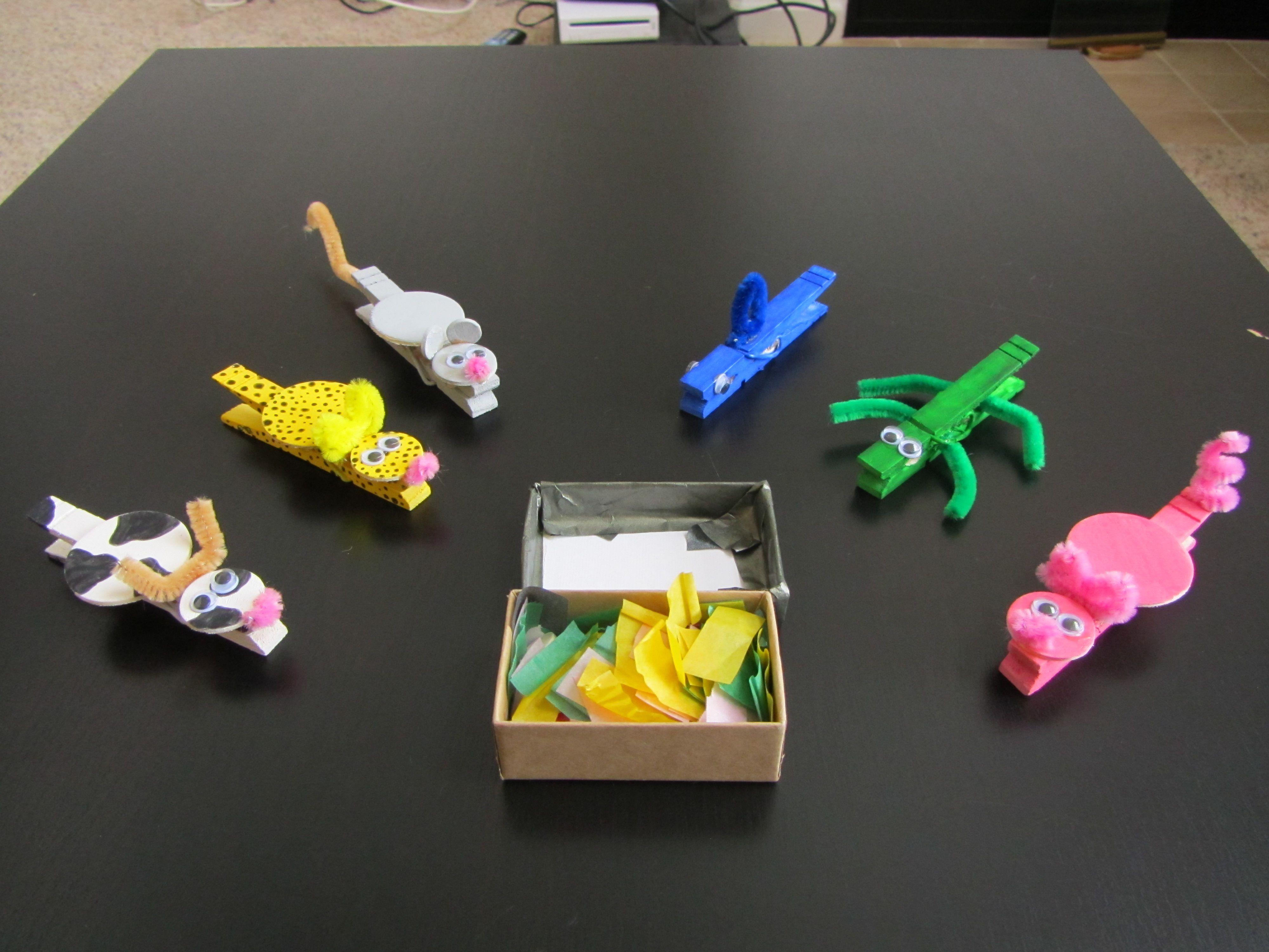 Clothespin Animals Eat Tissue Paper Fine Motor Development