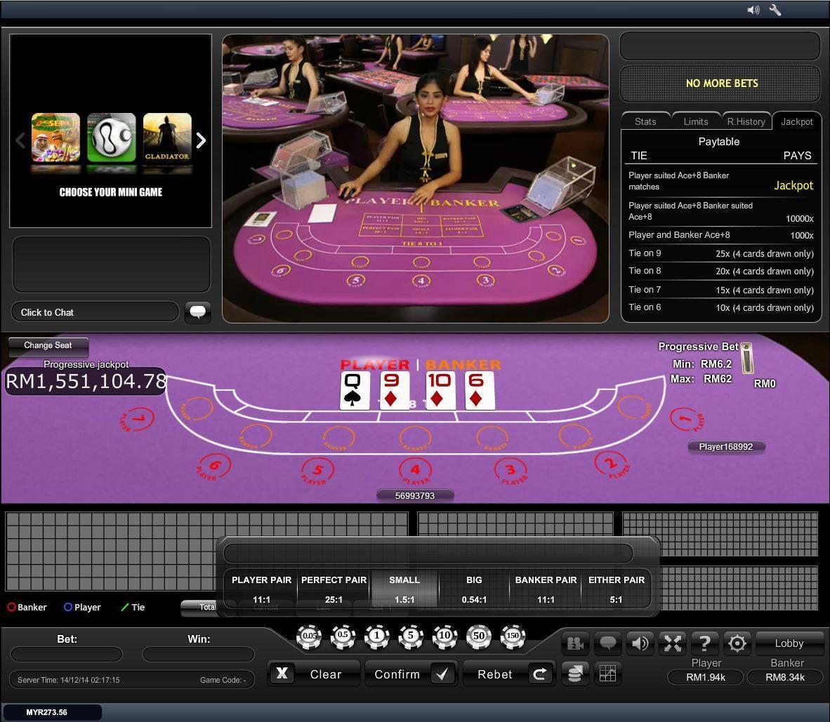 Infiniwin Live Casino Playtech Club Progressive Baccarat