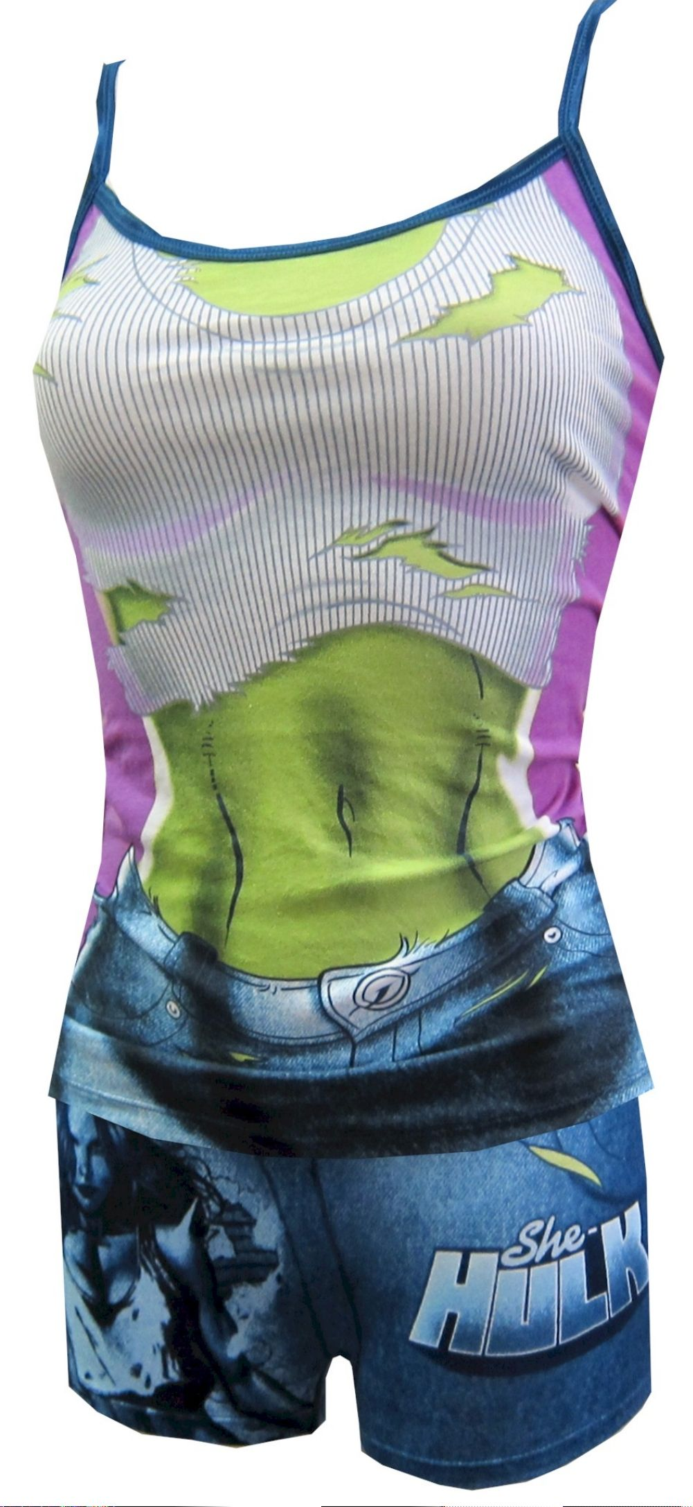 74928b12f865d Marvel Comics She-Hulk Cami   Panty Set These 95% cotton  5% spandex  camisole and panty sets for women resemble She-Hulk s outfit.