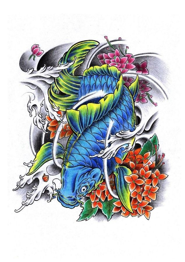 Koi Flower Color Tattoo Koi Tattoo Design Koi Tattoo Color Tattoo