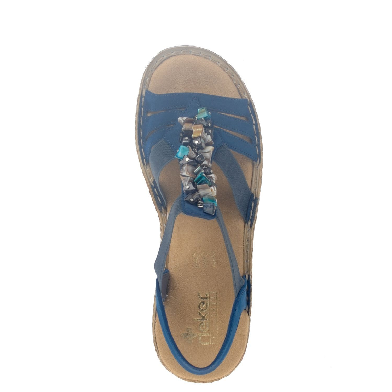 Rieker dames sandalen blauw | Nelson Schoenen online