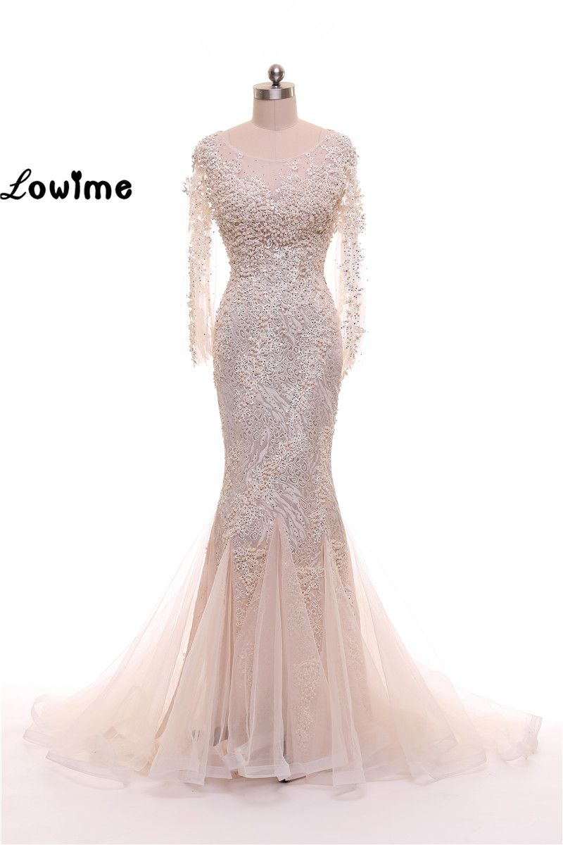 Click to buy ucuc long sleeve lace beaded mermaid formal evening dress