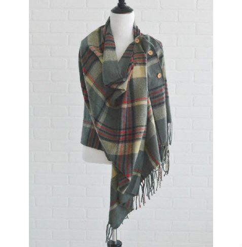 Gray Plaid Blanket Poncho from The Pynk Store - http://prettyinpynk.com/collections/scarves-and-ponchos/products/gray-plaid-blanket-poncho