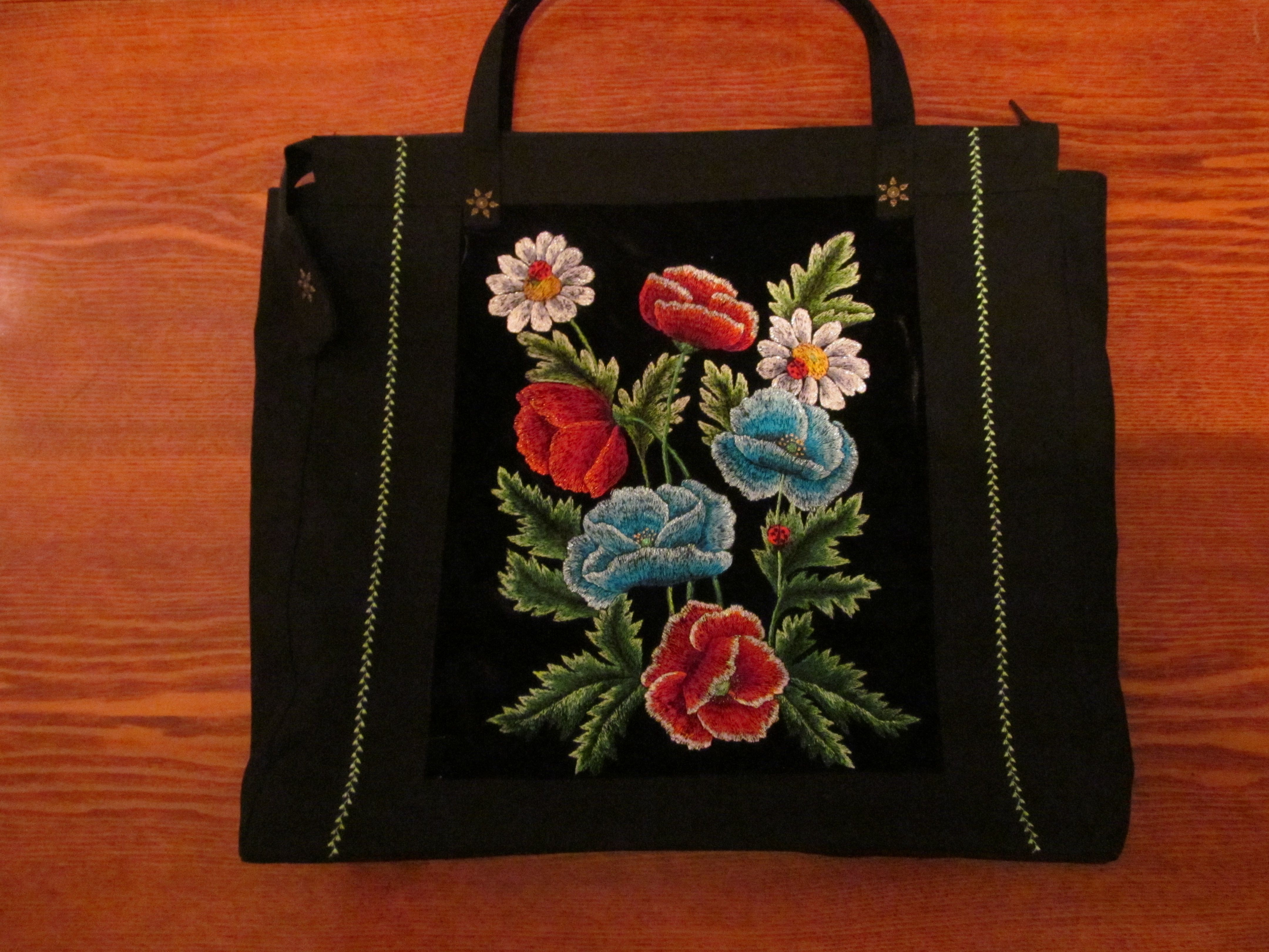 No More Plastic Bags Great Shopping Bag Hand Embroidered