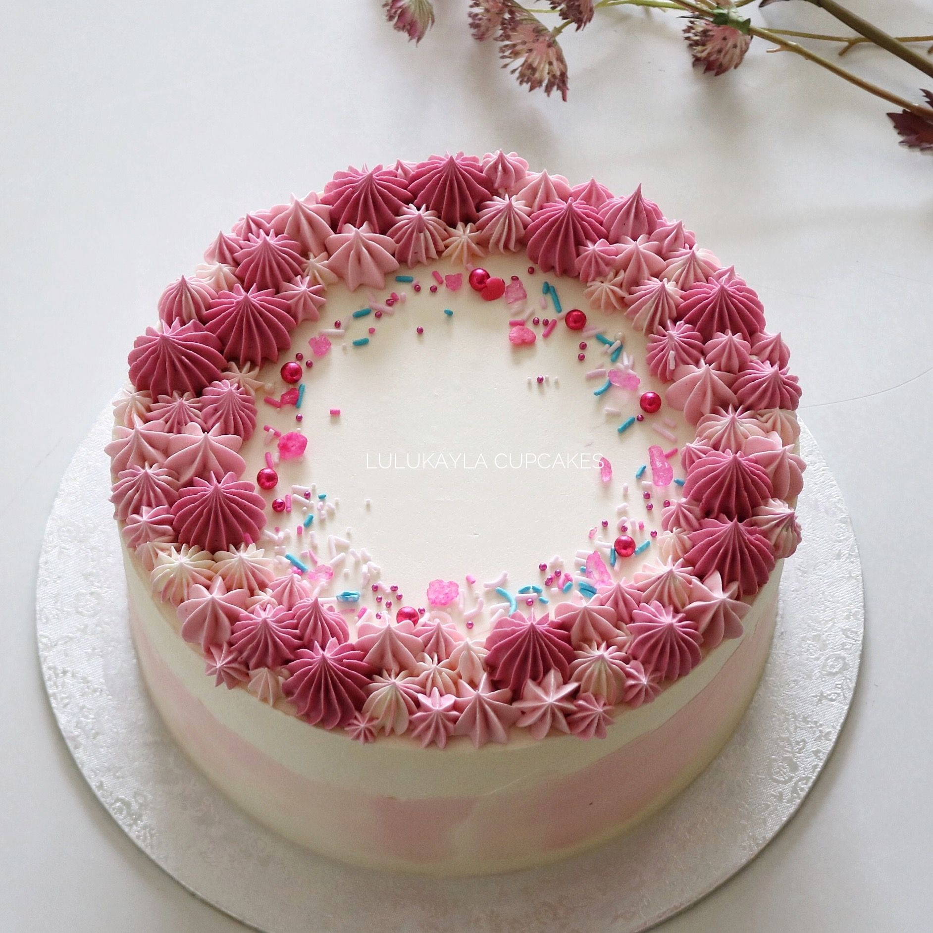 Pink Buttercream Cake With Images Buttercream Cake Decorating