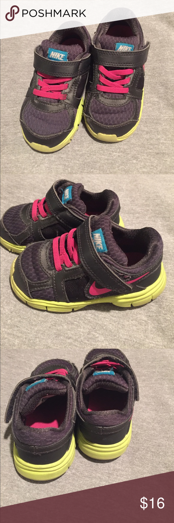 Nike youth shoes These shoes are in great, used condition. See photos for signs of wear. No structural flaws, only cosmetic wear. Nike Shoes Sneakers