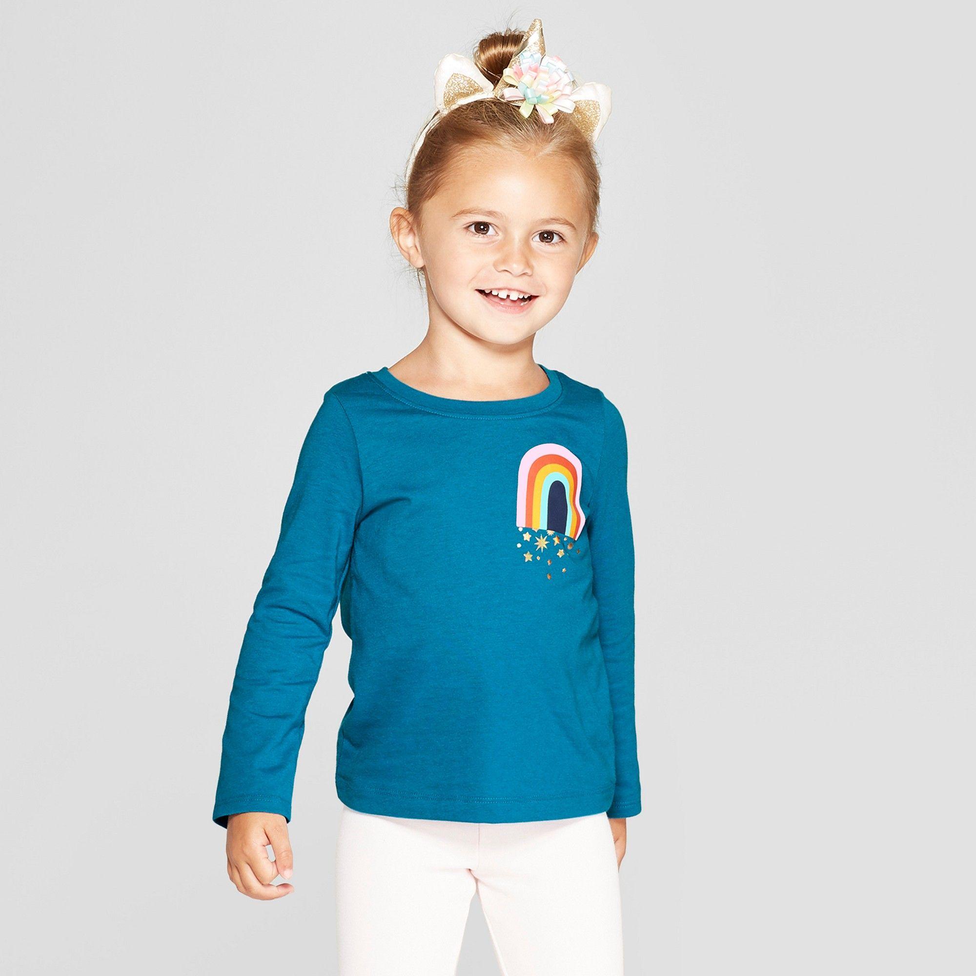 929732e3 Toddler Girls' Long Sleeve 'Rainbow' Graphic T-Shirt - Cat & Jack Blue 18M