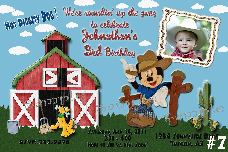 Mickey Mouse Cowboy Western Custom Photo Birthday Invitation Digital File You Print. $13.00, via Etsy.