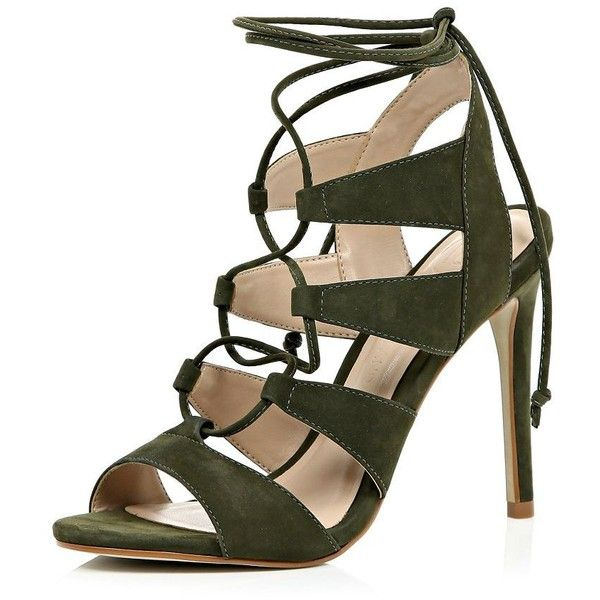 796bc30b2 River Island Khaki green suede caged lace up heels (245 BAM) ❤ liked on  Polyvore featuring shoes