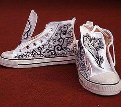 Peintes Personnalisées Chaussures Main Converse Naturel