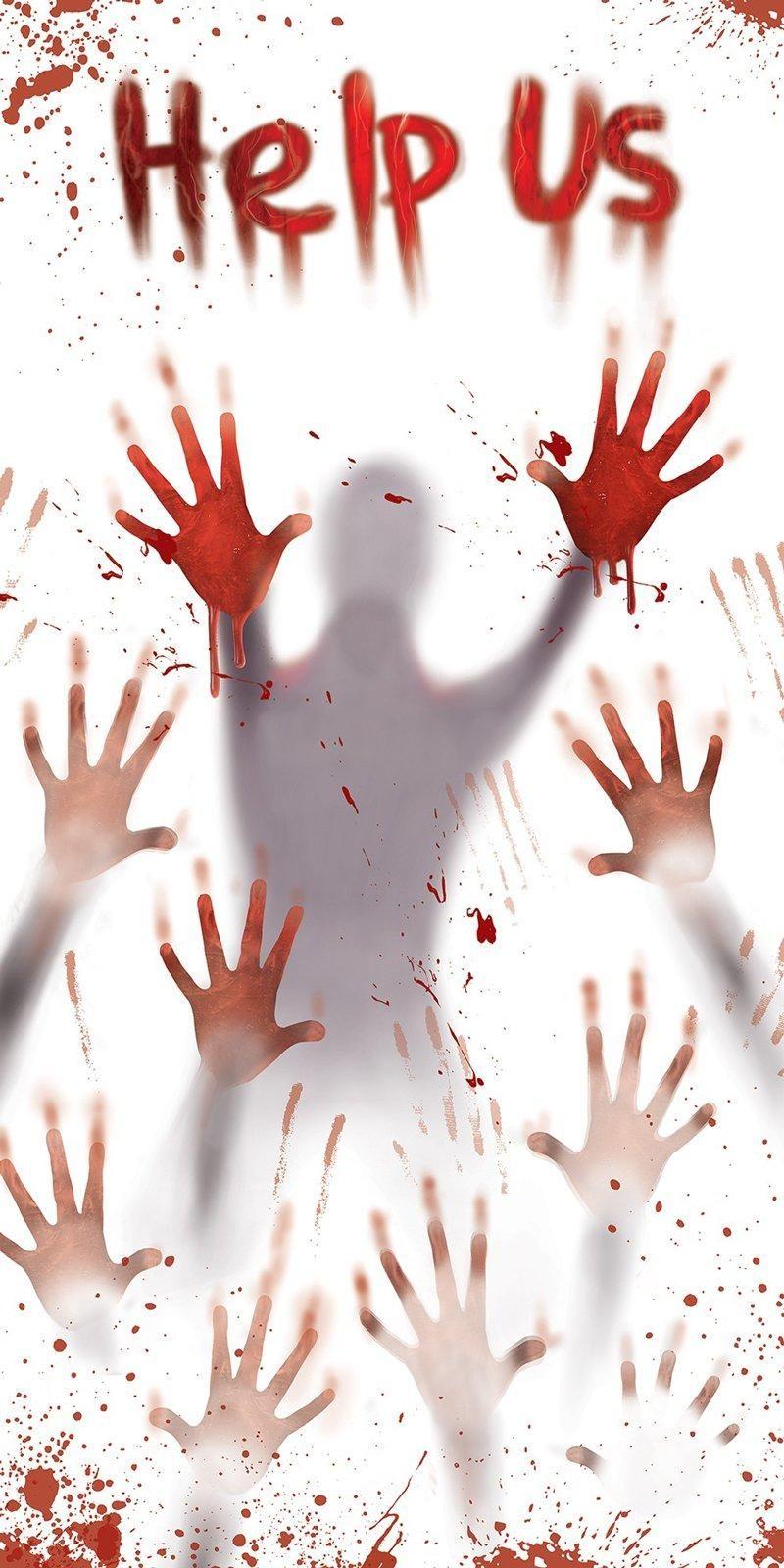bloody halloween door cover - Bloody Halloween Decorations