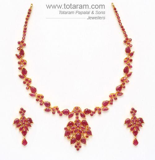 22K Gold Rubies Necklace Drop Earrings Set Totaram Jewelers Buy
