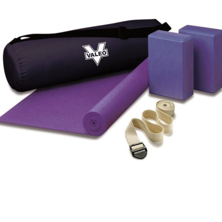 This Yoga Kit includes a non-slip alignment mat (68''L x 24''W x 0.12''D), multi-pose wall chart, and two Foam support blocks (6''H x 9''W x 4''D). Cotton strap (6-ft. length) with nylon tote bag.