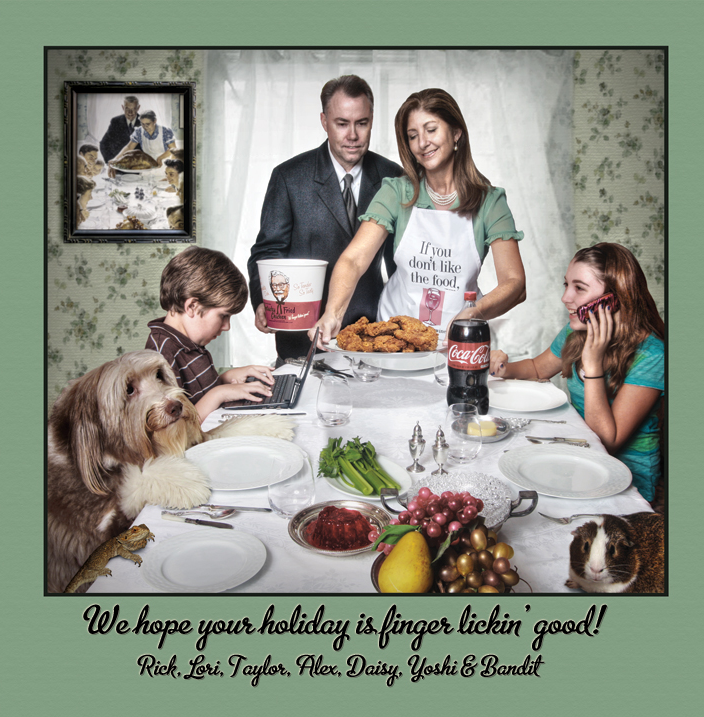 Great Christmas card of a family mimicking the Norman Rockwell ...