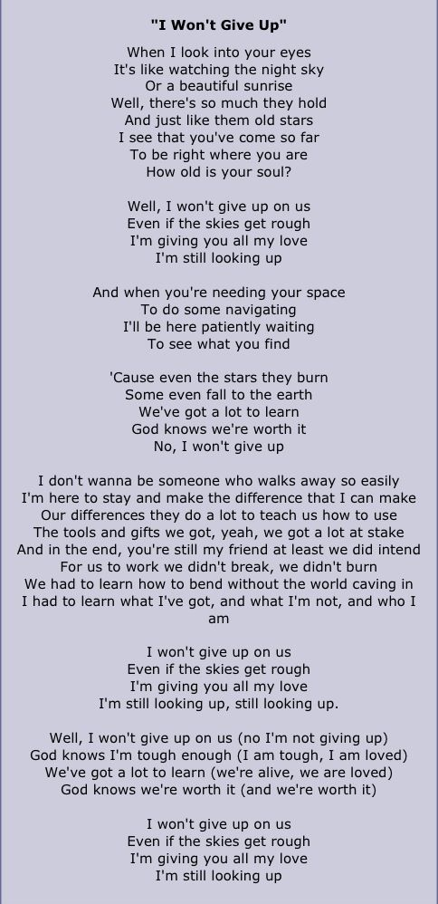 Lyric maroon five love somebody lyrics : Jason Mraz I Won't Give Up. And when you're needing your space, to ...