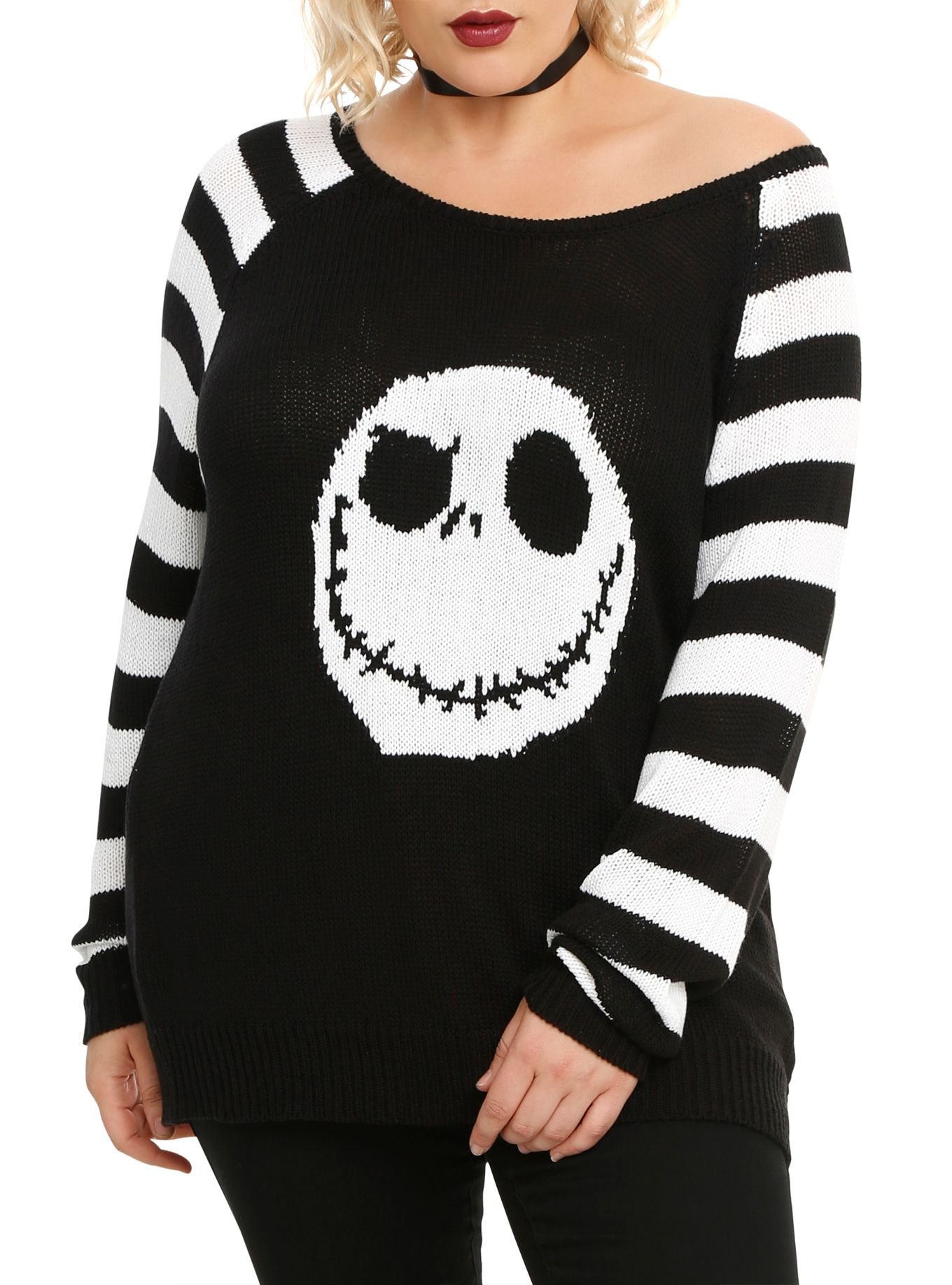 The Nightmare Before Christmas Jack Head Knit Sweater Plus Size ...