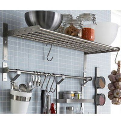 Ikea Grundtal Kitchen Shelf Rail and Hooks Set Stainless Steel