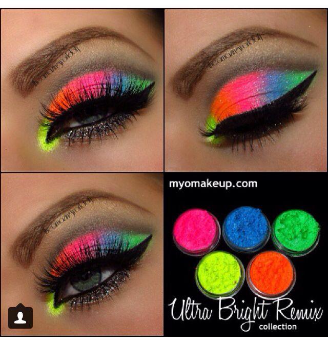 Maquillaje colores neón Maquillajes Pinterest Make up, Make up