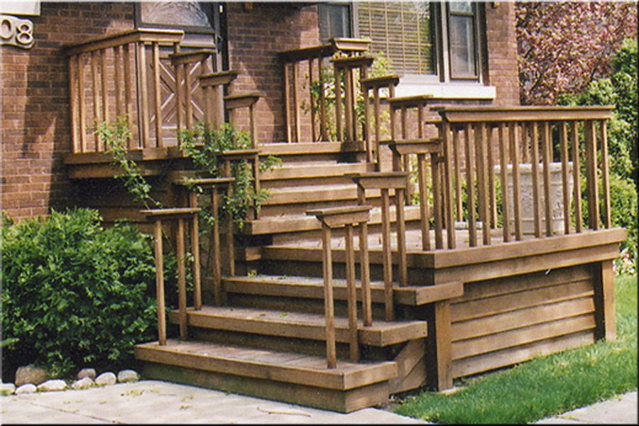 Front entrance wooden steps steep porches decks patios for Wooden front porch designs