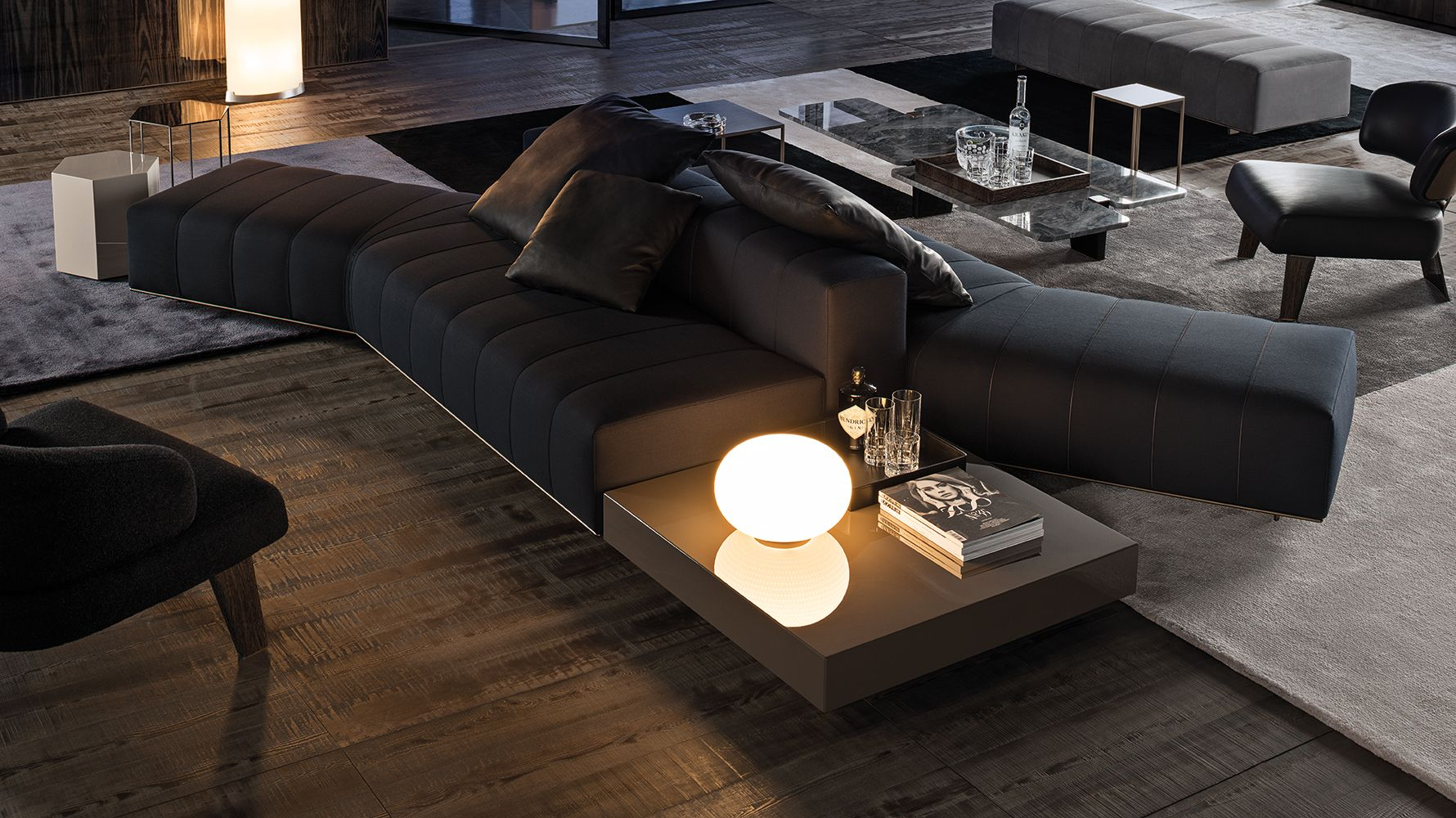 Chaise Sofa  Contemporary Basement Also Inspiring Behind Couch Table Also White Bar Stools With Arm Also Huge Black Pendant Light The Multipurpose Behind Cou u
