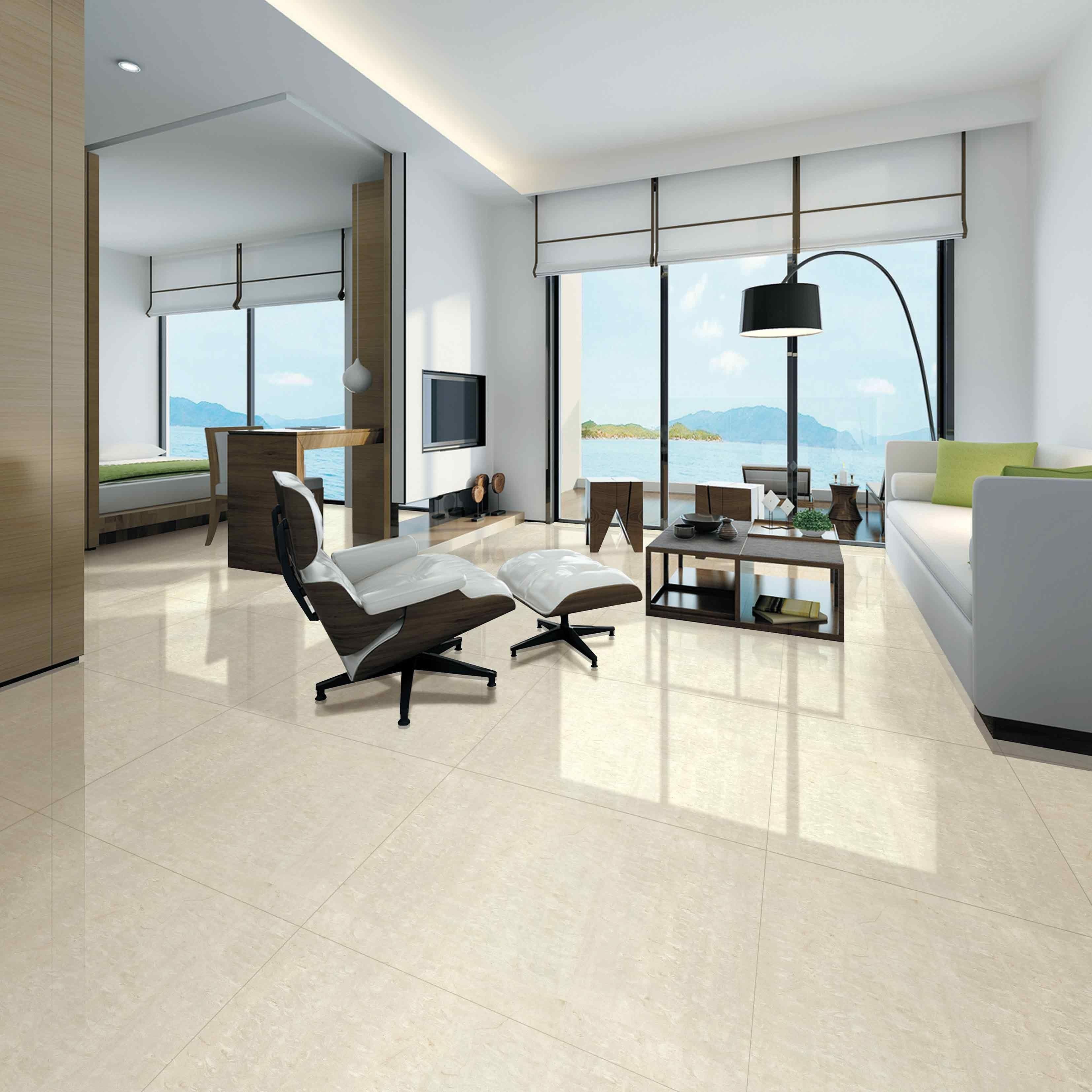 Cream Polished Porcelain Floor Tiles