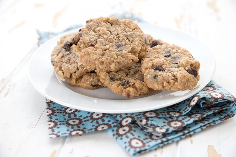 Keto Oatmeal Cookies On A Plate Over A Blue Patterned Napkin In 2020 Best Oatmeal Cookies Sugar Free Oatmeal Cookies Low Carb Cookies Recipes