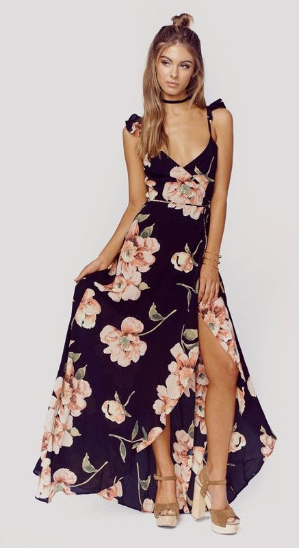 c32aecf6e149 Deep v-neck open back bohemian floral print slit summer maxi dress Details  Polyester, Cotton Chiffon Imported Delicate Cold Wash Fits One Size Small