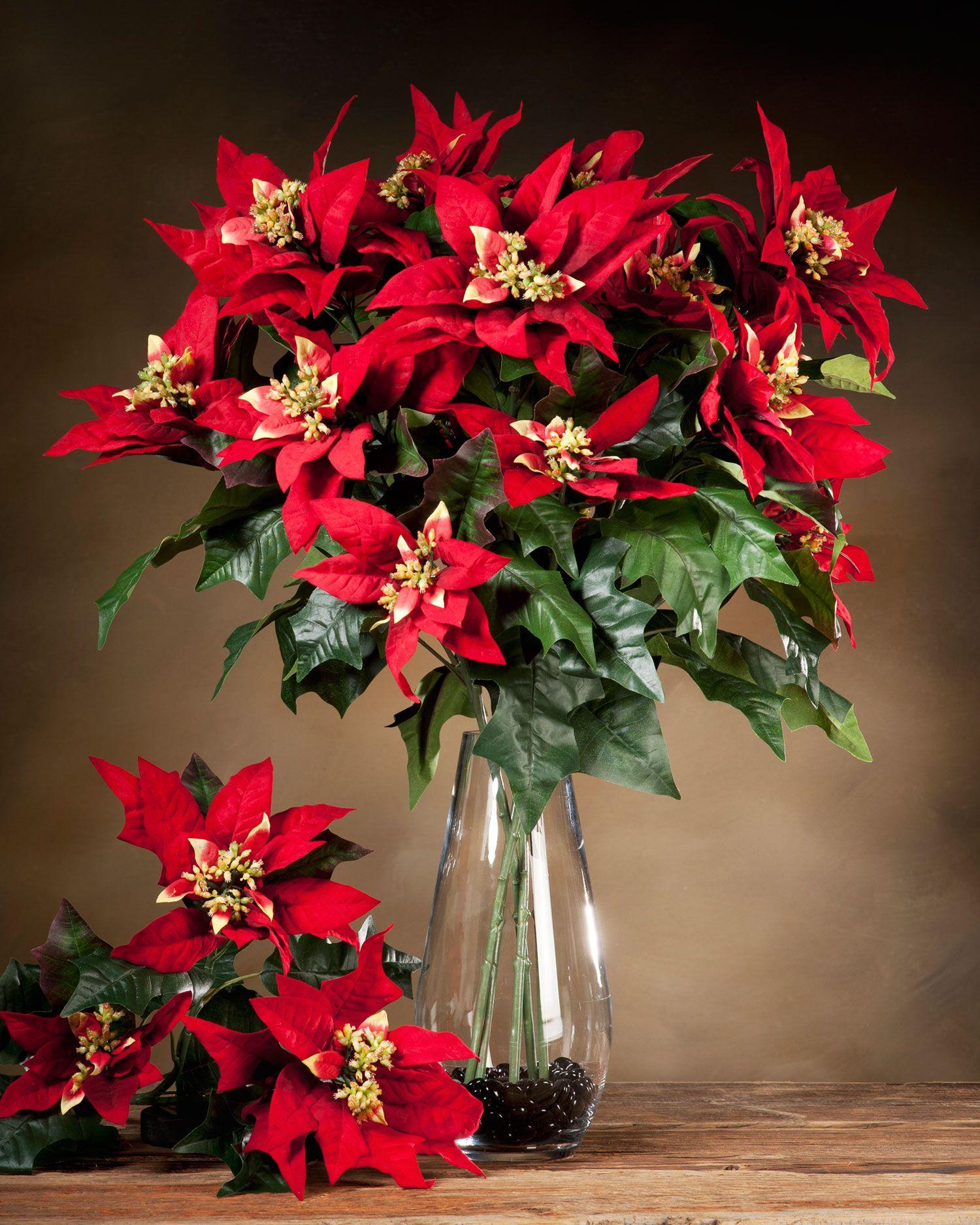 Poinsettia Silk Flower Stem Poinsettia Plant Flower Arrangements Elegant Christmas Decor