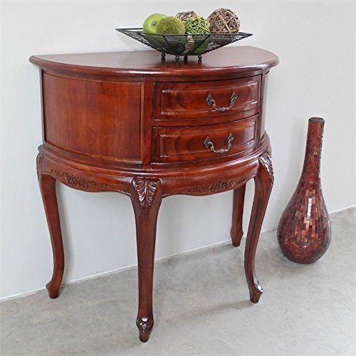 hand carved wood half moon 2 drawer console table furniture rh pinterest com