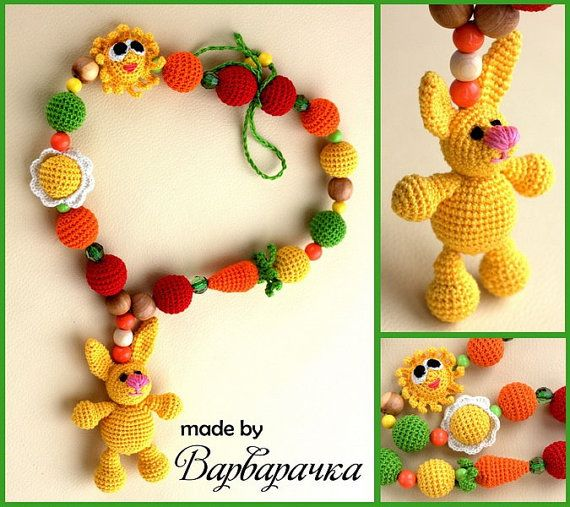 #Nursingnecklace #Breastfeeding necklace with #amigurumi #rabbit