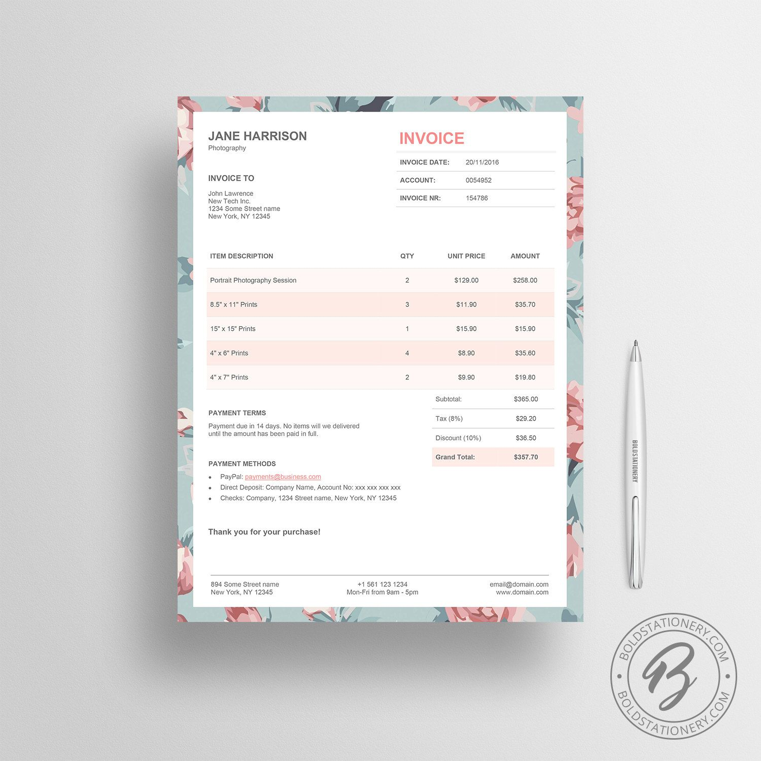 Invoice Template   Photography Invoice  Receipt Template