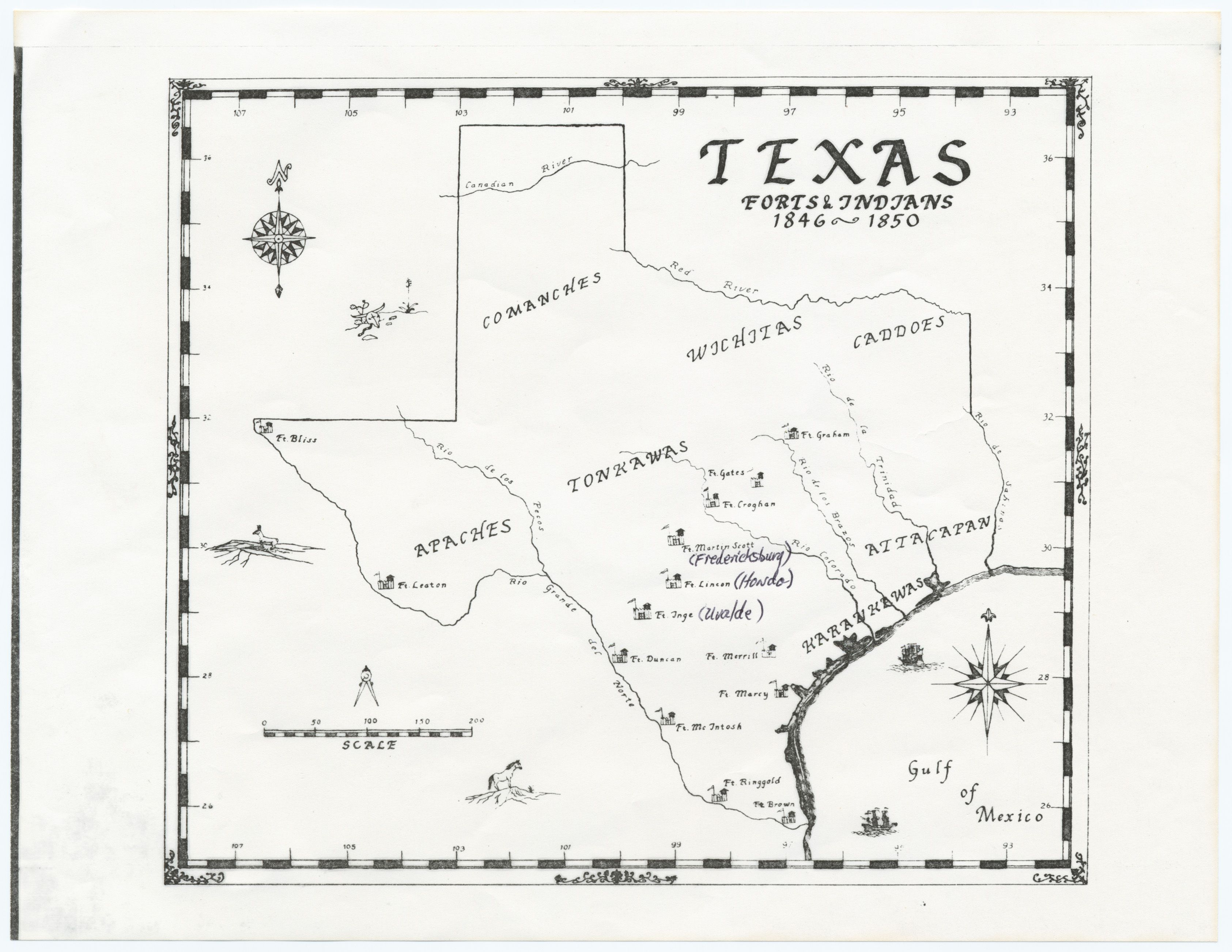A Map Of Texas Forts Indians Between 1846 1850 Stored In The Sam Houston