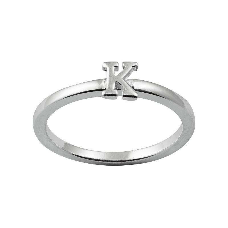 Sterling Silver Initial Ring, Women's, Size: 7, Grey