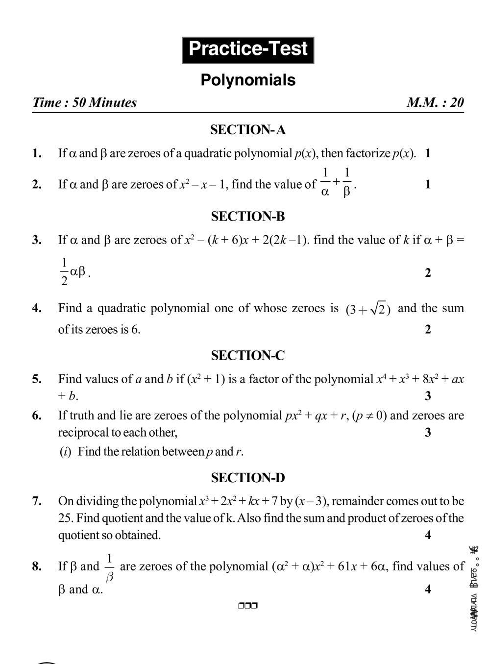 Class 10 Maths Notes For Polynomials Math Notes Polynomials Math