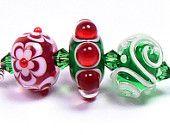 Christmas Wishes Trio 3, Lampwork Beads Handmade by Kandice Seeber, SRA